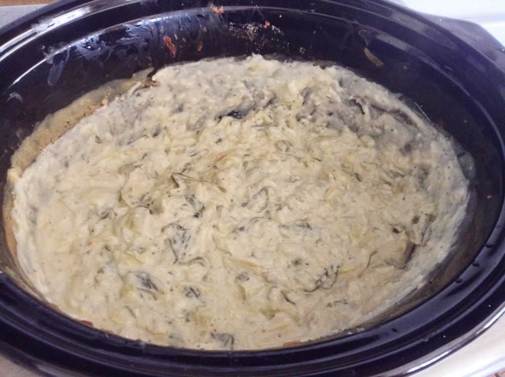 Spinach and Artichoke Dip final mix