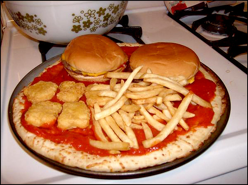 Pizza With Burgers Fries And Mcnuggets So Good Blog