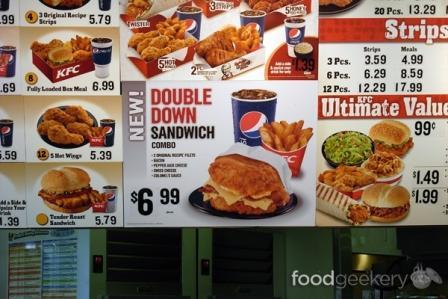KFC double down menu